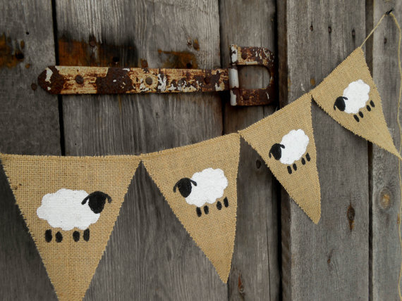 etsy sheep hessian bunting