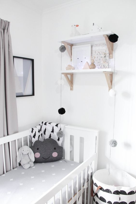 grey and monochrome nursery decor