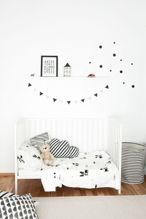 Scandi style with lots of fresh white and touches of black accessories