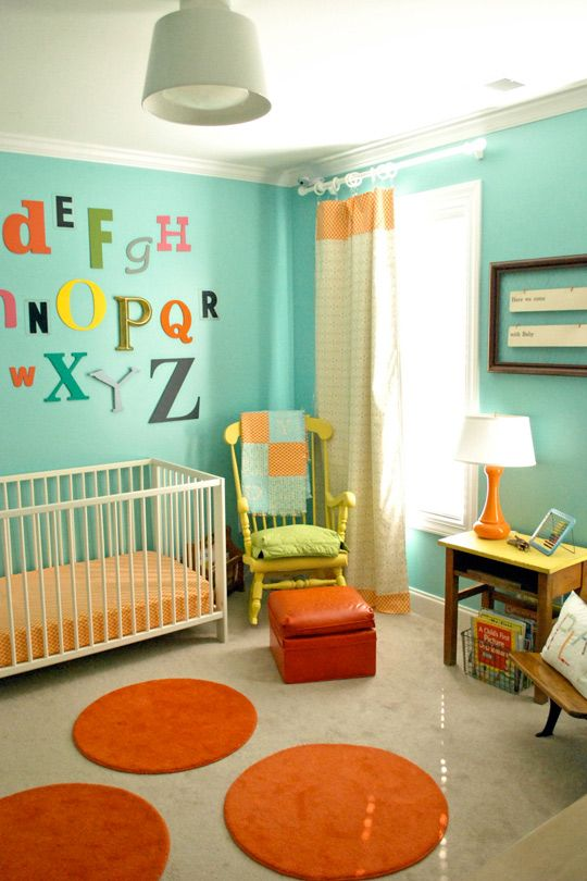 turquoise blue and orange nursery decor