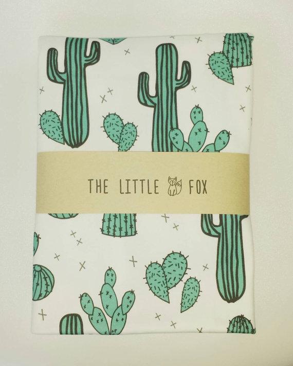 cactus print crib sheet