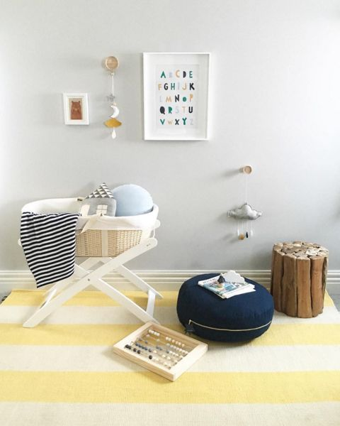 yellow and blue baby nursery